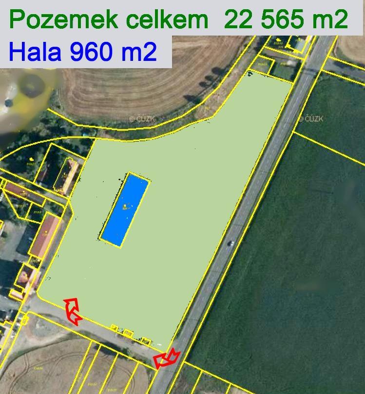 PRODEJ KOMERČNÍHO POZEMKU  22 565 m2, s halou 960 m2, Exit 35 D8